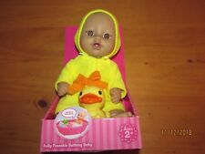 """Fully Poseable 9"""" Bathing Baby doll w/ bath toy and robe. New, free shipping."""