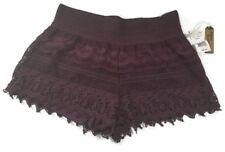 HIPPIE LAUNDRY Womens Juniors Crochet Layered Burgandy Shorts Size L NEW Stretch