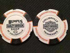 "Harley Davidson Poker Chip (White & Black) ""Bumpus H-D Shop"" Collierville,TN."