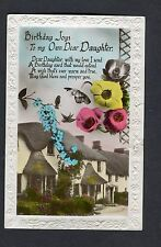 Posted 1933 Birthday Card: Dear Daughter: Hatched Cottage, Birds & Flowers