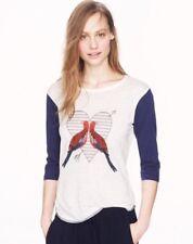 J. Crew Love Birds Linen Baseball Raglan Tee Shirt Large Worn On TV HIMYM