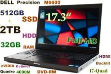"""Workstation 17.3"""" DELL M6600 i7-QUAD (512GB SSD + 2TB) 32GB Quadro 4000M Backlit"""