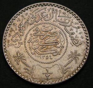 SAUDI ARABIA (United Kingdoms) 1/2 Riyal AH 1354 (1935) - Silver - VF - 3872