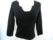 WHITE HOUSE BLACK MARKET Black Long Sleeve Top With White Stitched Trim Size S