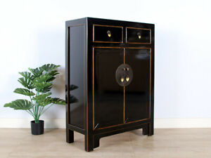 chinesische Kommode Orientalisch/Asiatisch Stil schwarz #M-KOM-Ye82