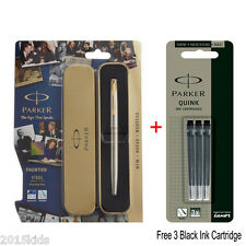Parker Frontier Stainless Steel GT Gold Trim Ink Fountain Pen+3 Black Ink Refill