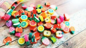 10 Polymer Clay Fruit Beads Assorted Lot 7mm to 12mm Food Jewelry Supplies