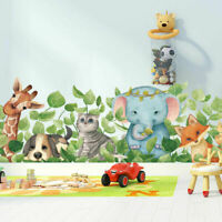 Safari Animal Tropical Leaves Wall Art Stickers Removable Decal Nursery Decor