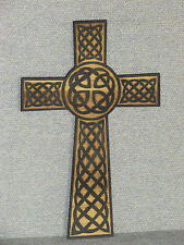 "Rustic Engraved Wood Celtic 12"" Cross Wall Hanging Art"