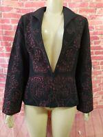 Spirit by Coldwater Creek Black Red Lined Women's Jacket Blazer Sz 8 (B4)