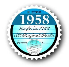 Retro 1958 Tax Disc Disk Replacement Vintage Novelty Licence Car sticker decal