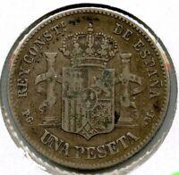 1891 Spain Silver Coin Una Peseta - Espana Spanish Alfonso XIII - BH144