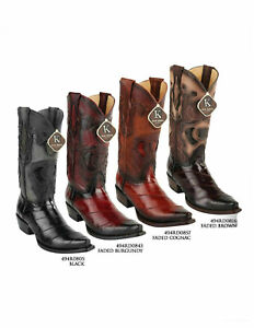 King Exotic Men's  Snip Toe Genuine EEL SKIN  Leather Western Cowboy Boots