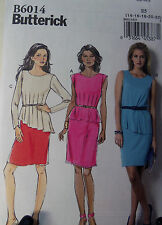 Pattern Womens Plus Knit Dress Butterick 6014 Pullover Peplum 14 16 18 20 22
