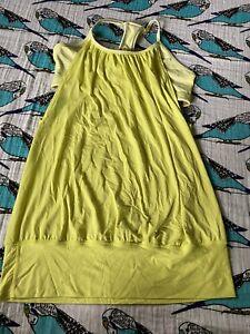 Lululemon No Limits Tank Top Yellow Lime Size 8 Womens Built-in Bra Yoga Run