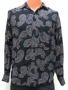 BLACK PAISLEY RAYON Shirt S/M Fit gray & colors long sleeve vintage? button