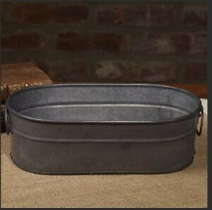 """Little Metal Tub with Handles - Primitive Country Decor 9.25"""""""