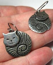 NEW ST JUSTIN JEWELLERY MADE IN CORNWALL PEWTER FAT CAT DROP EARRINGS GIFT BOXED