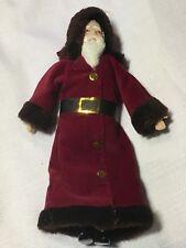 """Christmas Ornament Santa Claus St Nick Velvet Robe Ceramic Face Hands 7 1/4"""""""