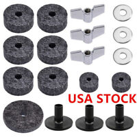 18pcs Drum Cymbal Accessories Set Felt Washers Cymbal Sleeves Wing Nut #USA