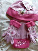 Disney Minnie Mouse Girls Fleece Hat, Scarf and Gloves set (2 variations pink)