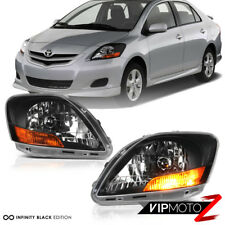 FOR 2007-2011 Toyota Yaris S Sedan Infiniti Black Headlight Headlamps Left Right