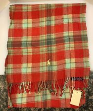 Polo Ralph Lauren Scarf Plaid 100% Cotton Italy Made Men Red Green 5058219 NWT