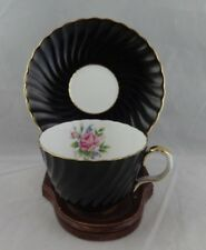 "Aynsley China  Black ""swirled"" ribbing Pink Rose  Tea Cup & Saucer Set   C1493"