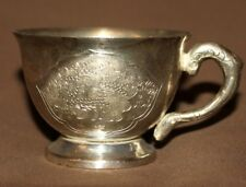 Vintage ornate silver plated small cup mug