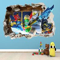 LEGO NINJAGO SMASHED WALL STICKER 2 - BEDROOM BOYS GIRLS VINYL WALL ART