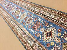 """2'.8"""" X 12'.6"""" Light Blue Beige Super Kazak Persian Oriental Rug Runner Handmade"""