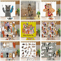 Fabric Shower Curtain Waterproof & 12 Hooks Funny Cat Pet Animal Decor Bath Mats