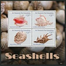 ST. VINCENT GRENADINES 2016 SEASHELLS  SHEET OF FOUR  MINT NH