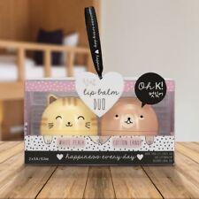 Oh K! Moisturising Lip Balm Set Korean Gift Cat Bear Kawaii Peach & Cotton Candy