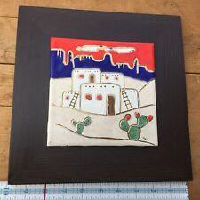 Vintage Handpainted Tile Cacti Pueblo Southwest