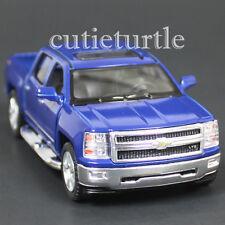 Kinsmart 2014 Chevrolet Silverado LTZ 4x4 Pick Up Truck 1:46 Diecast Car Blue