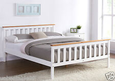 White Wooden Bed Frame Pine Oak Top Double King Single Size and with Mattress