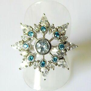 Santa Maria Aquamarin Apatit Saphir Stern Ring 925 Silber Rhodium 17,8 mm 56