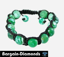 shamballa 10 mm rainforest green agate beads black silk macrame bracelet unisex