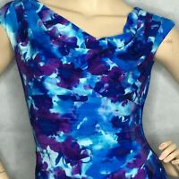 Ralph Lauren Jersey Draped Asymmetric Sheath Dress Sz 2 Blue Floral Stretchy