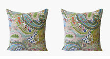 Indian Handmade 16X16 Beige Paisly Cotton Ethnic Kantha Cushion Cover Set OF 2