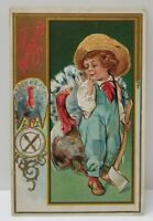Thanksgiving Postcard 1911 Embossed Turkey and Little Boy With Ax Gold Gilt