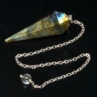 46 MM Natural Labradorite  6 Facet Dowsing Pendulum Healing Stone Extreme Energy