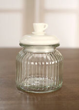 Glass Air Tight Canister Fresh Kitchen Teabag Coffee Storage Decor with Cup Lid