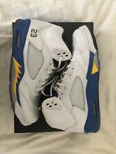 newest 063f7 6cfca Air Jordan Retro 5 V White Yellow Blue Laney Size 13 Shoes