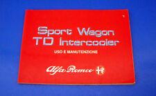 Alfa Romeo 33 Sport Wagon 1.8 TD Intercooler Libretto Uso e Manutenzione 1989