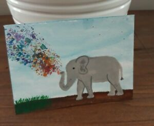 Aceo Original Painting Elephant Colorful Art Card