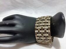 Chunky Bangle Bracelet Stretch Style Burnished Gold Metal Crystal NEW