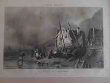 Normandie . Lithographie d' Isabey début XIXè .