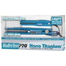 "BABYLISS PRO NANO TITANIUM 450° LED 1 1/4"" BLUE + FREE MINI TRAVEL FLAT IRON SET"